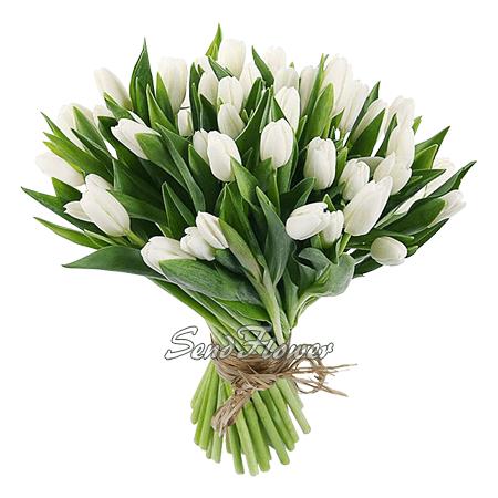 Букет из белых тюльпанов