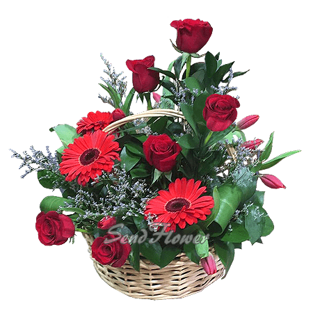 Корзина с герберами, розами, тюльпанами
