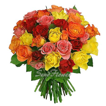 Букет из разноцветных роз (50 см.)