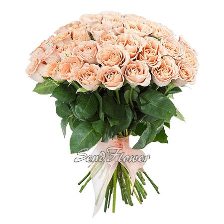Букет розовых роз перевязанный лентой